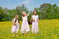 Crianças em uma caça do ovo de Easter Fotos de Stock