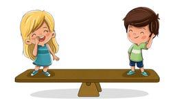 Crianças em uma escala Conceito da igualdade ilustração royalty free