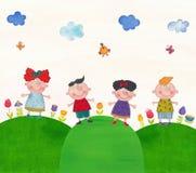 Crianças em uma visita de estudo Fotografia de Stock Royalty Free