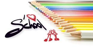 Crianças, eu amo a escola Foto de Stock Royalty Free
