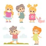 Crianças felizes ajustadas 5 caráteres das crianças dos desenhos animados isolados no branco Ilustração do vetor ilustração stock