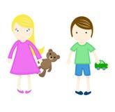 Crianças felizes com brinquedos Ilustração do vetor Fotografia de Stock Royalty Free
