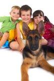 Crianças felizes com cão Fotografia de Stock Royalty Free