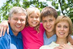 Crianças felizes com pai Imagens de Stock