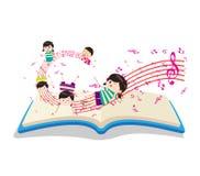 Crianças felizes da música com livro ilustração royalty free