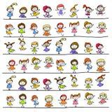 Crianças felizes do personagem de banda desenhada do desenho da mão Fotografia de Stock