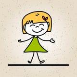 Crianças felizes do sumário dos desenhos animados do desenho da mão Imagens de Stock