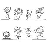 Crianças felizes dos desenhos animados do desenho da mão Imagem de Stock Royalty Free
