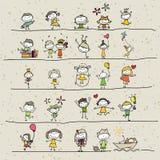 Crianças felizes dos desenhos animados do desenho da mão Fotografia de Stock Royalty Free