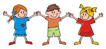 Crianças felizes, duas meninas e menino, ilustração engraçada do vetor Fotos de Stock Royalty Free