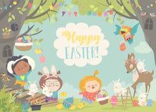 Crianças felizes e animais que comemoram a Páscoa na floresta ilustração do vetor