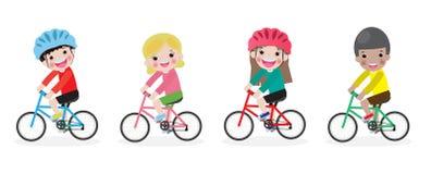 Crian?as felizes em bicicletas, bicicleta da equita??o das crian?as, crian?as que montam bicicletas, bicicleta da equita??o da cr ilustração royalty free