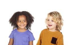 Crianças felizes isoladas fotografia de stock