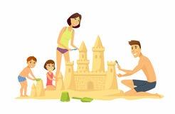 Crianças felizes na praia - ilustração do caráter dos povos dos desenhos animados Fotos de Stock
