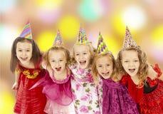 Crianças felizes no carnaval Fotos de Stock Royalty Free