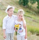 Crianças felizes no parque do verão fotos de stock royalty free