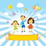 Crianças felizes que comemoram ilustração royalty free