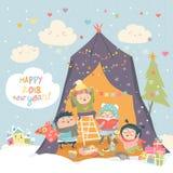 Crianças felizes que comemoram o Natal ilustração stock