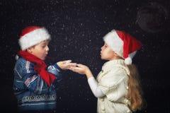 Crianças felizes que jogam com os flocos de neve na caminhada do inverno imagens de stock