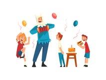 Crianças felizes que têm o divertimento com o animador na festa de anos, anfitrião no traje festivo que executa antes do vetor ilustração royalty free