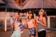 Crianças felizes que têm o divertimento na praia imagens de stock