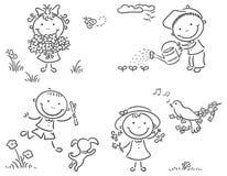 Crianças fora na mola ilustração royalty free