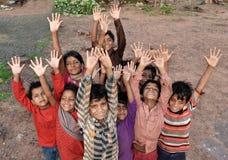Crianças indianas rurais felizes Fotos de Stock Royalty Free