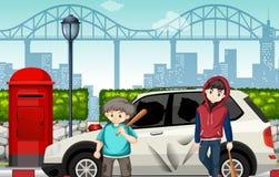 Crianças más da rua e carro despedaçado ilustração royalty free