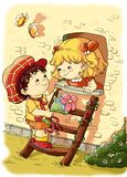 Crianças macias, amor romântico Fotos de Stock Royalty Free