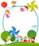 Crianças, moinho de vento, e trem Imagens de Stock Royalty Free