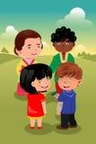 crianças Multi-étnicas que jogam junto Foto de Stock