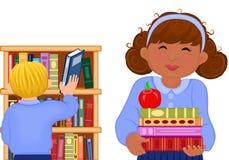 Crianças Multiracial na biblioteca de escola Ilustração do Vetor