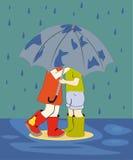 Crianças na chuva Fotos de Stock