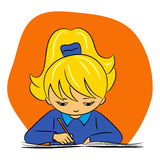 Crianças na escola - a menina está escrevendo Imagens de Stock