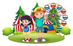 Crianças na frente do carnaval Imagens de Stock Royalty Free