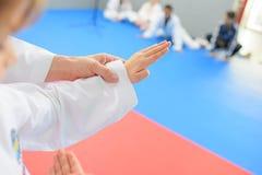 Crianças na lição das artes marciais foto de stock