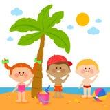 Crianças na praia sob uma palmeira ilustração do vetor