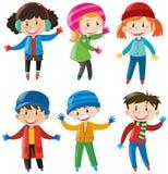 Crianças na roupa do inverno Fotografia de Stock