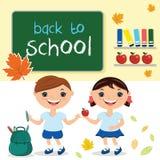 Crianças na turma escolar, com a administração da escola Com texto b Fotografia de Stock Royalty Free