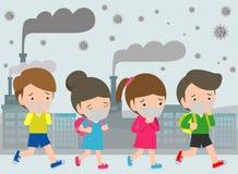 Crianças nas máscaras devido à poeira fina PM 2 máscara vestindo de 5, de menino e de menina contra a poluição atmosférica Poeira ilustração do vetor