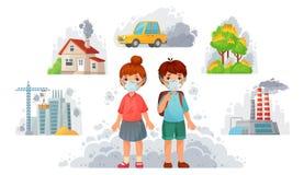 Crianças nas máscaras N95 Proteção ambiental, máscara protetora para proteger do fumo da rua e PM2 sujos Ilustra??o de 5 vetores ilustração stock