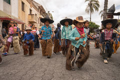 Crianças nativas do kichwa em Cotacachi Equador Fotografia de Stock