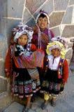 Crianças nativas, Pisac, Peru Fotos de Stock