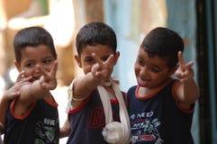 Crianças no acampamento palestino fotografia de stock royalty free