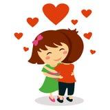 Crianças no aperto do amor ilustração stock
