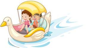 Crianças no barco Fotografia de Stock