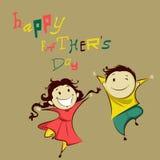 Crianças no dia de pai feliz ilustração stock