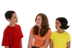 Crianças no fundo branco Fotografia de Stock Royalty Free