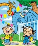 Crianças no jardim zoológico Imagens de Stock
