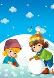 Crianças no jogo na neve Foto de Stock